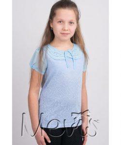 блуза для девочки голубая, розы 1719 фотография