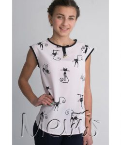 блуза для девочки подростка, кошки 2095 фотография