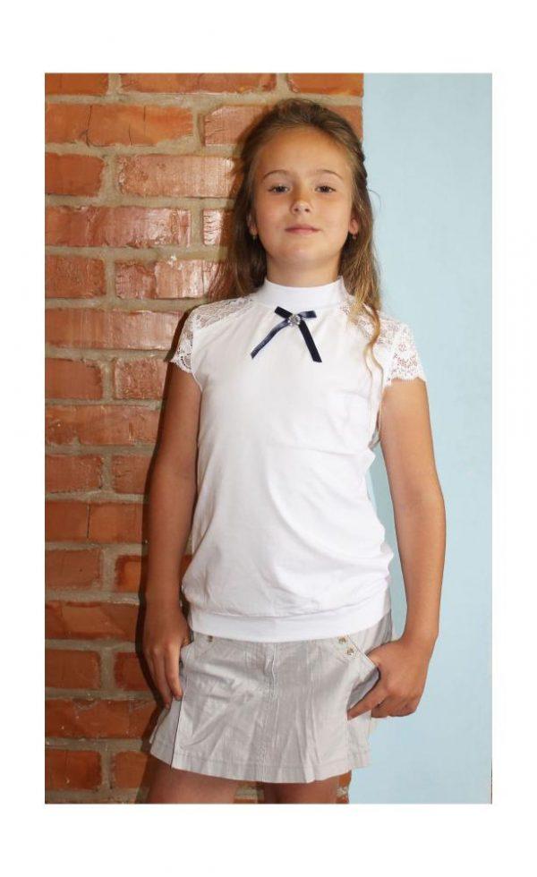 блуза для девочки с коротким рукавом трикотажная белая 1640 фотография