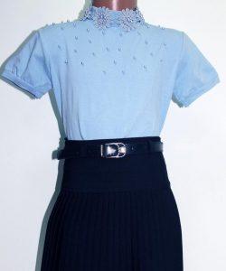 блуза водолазка трикотажная для девочки с коротким рукавом 70816 фотография