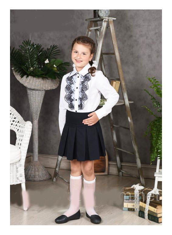блузка для девочки школьная белая 2040 фотография
