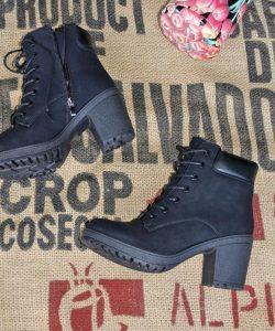 ботинки женские на удобном каблуке черные 280819 фотография