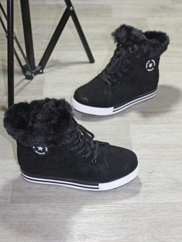 ботинки женские в спортивном стиле на меху черные 211219 фотография
