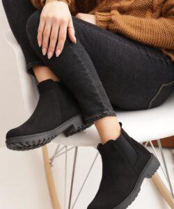ботинки замшевые черные челси 151019 фотография