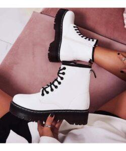 ботинки в стиле др. мартинс белые 90919 фотография