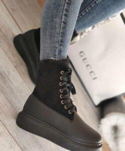 ботинки зимние на меху криперы черные 40919 фотография