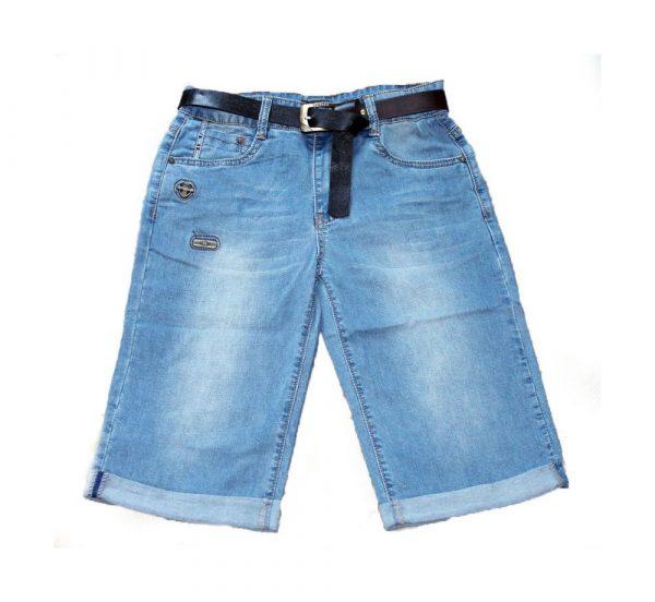 бриджи для мальчика подростка джинсовые с поясом 5609 фотография