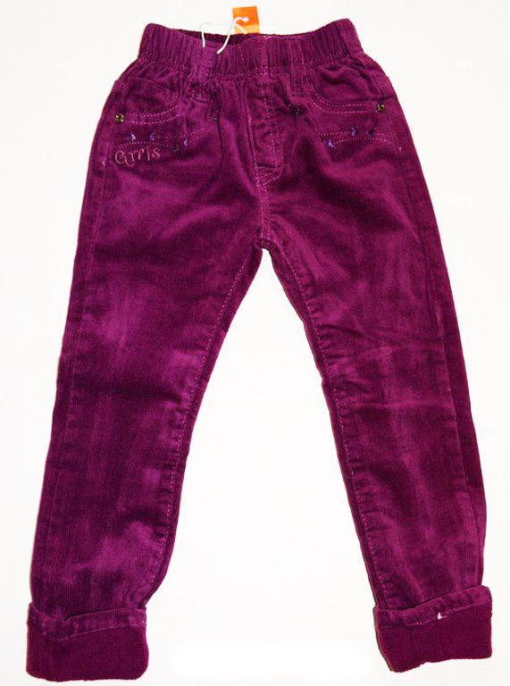 брюки вельветовые теплые на флисе для девочек 201017 фотография