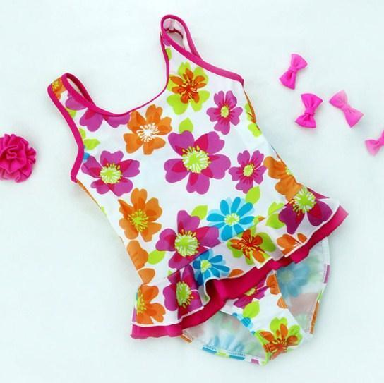 цельный купальник для девочки, цветы 0588 фотография