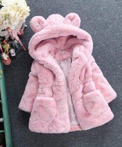 детская куртка для девочки из искусственного меха мишутка розовая 111219 фотография