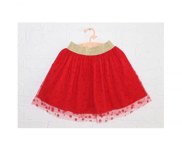 детская нарядная юбка для девочки красная 511191 фотография