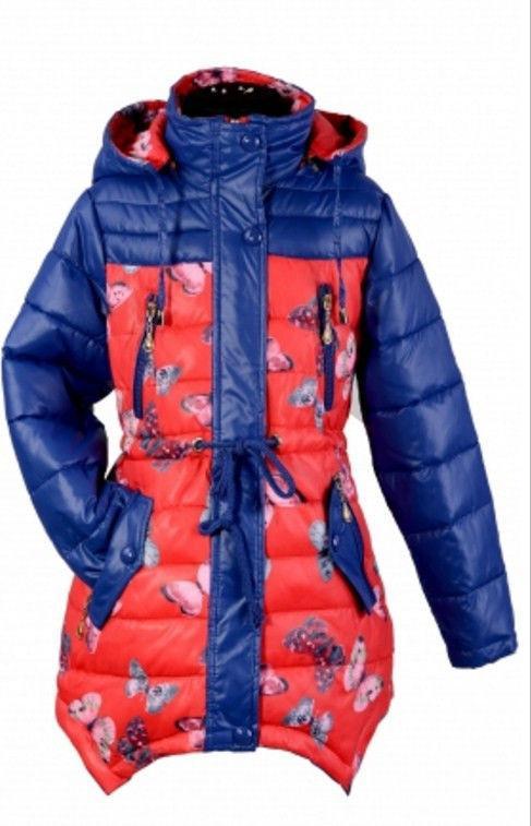 детская демисезонная куртка на девочку, бабочки 110216 фотография