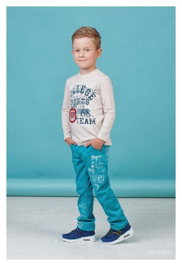 детские брюки для мальчика на резинке зеленые 80111 фотография