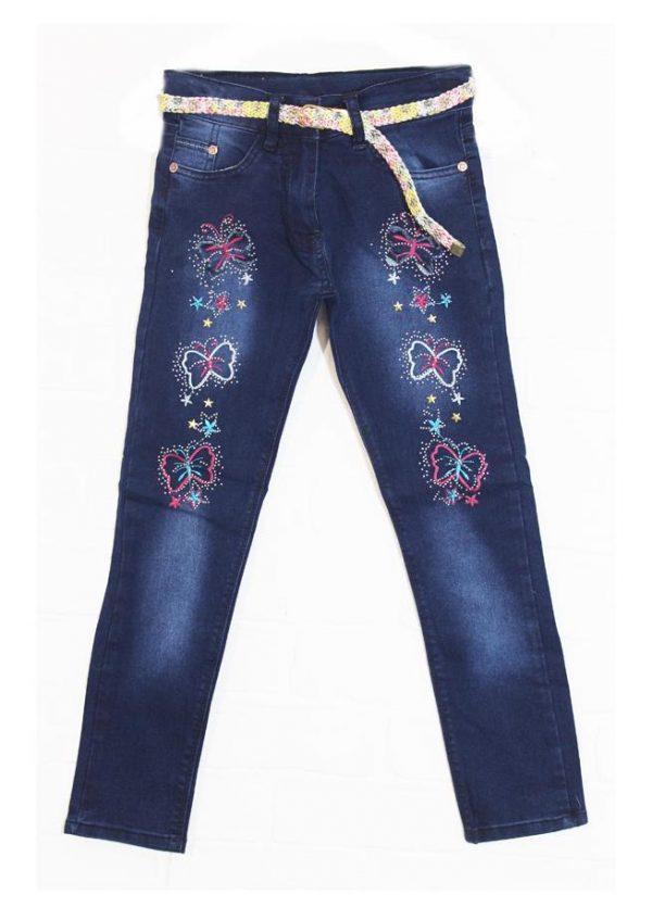 детские джинсы для девочки с вышивкой, бабочки 9543 фотография