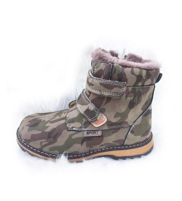 детские зимние ботинки для мальчика, милитари 5161 фотография