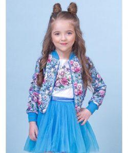 детский куртка ветровка трикотажная для девочки розы 80012 фотография