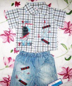 детский костюм летний для мальчика с джинсовыми шортами 704144 фотография