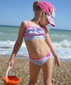 детский купальник раздельный для девочки, фламинго 8411 фотография