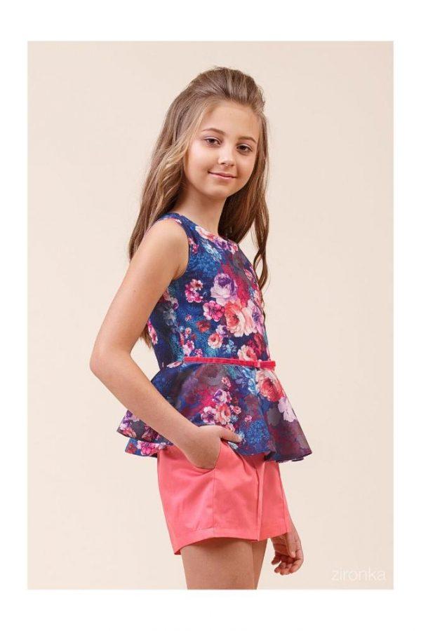 детский нарядный костюм для девочки на лето пион, размеры 110-140 8021 фотография