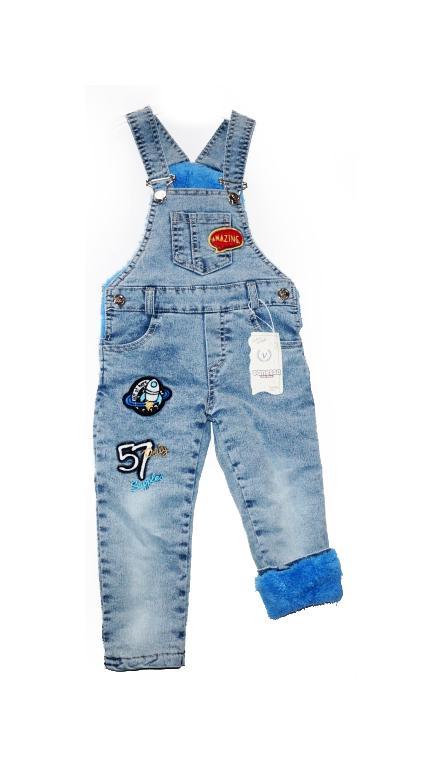 детский теплый джинсовый полукомбинезон для мальчика на махре 311018 фотография