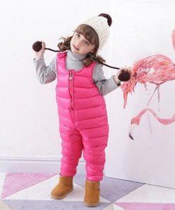 детский теплый полукомбинезон для девочки 81017 фотография
