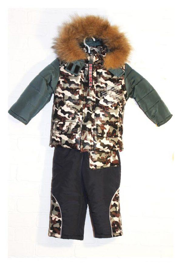 детский зимний комбинезон с курткой для мальчика, хаки 3010171 фотография