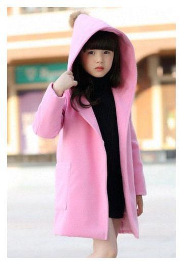 детское кашемировое пальто для девочки с капюшоном 6999 фотография