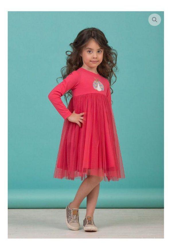 детское красивое платье для девочки, малиновая пайеточка 8005 фотография