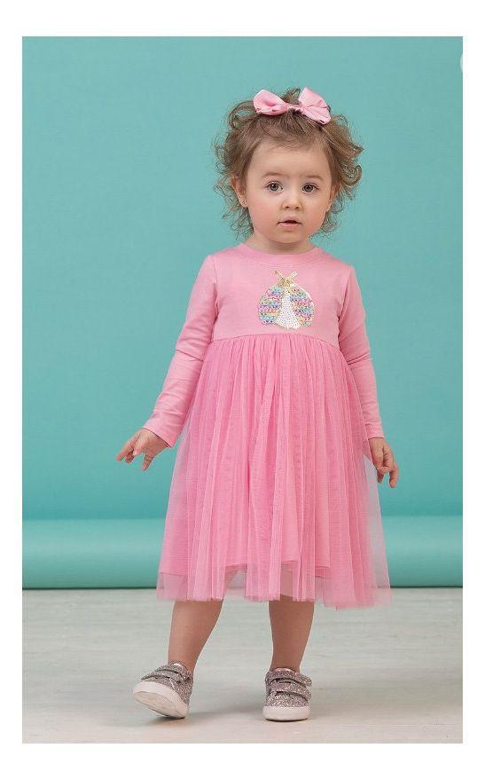 детское красивое платье для девочки, розовая пайеточка 8004 фотография