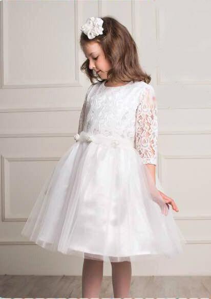 детское праздничное платье для девочки, белое кружево 912163 фотография