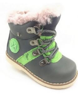 детские зимние ботинки для мальчика на шнурках 1138 фотография