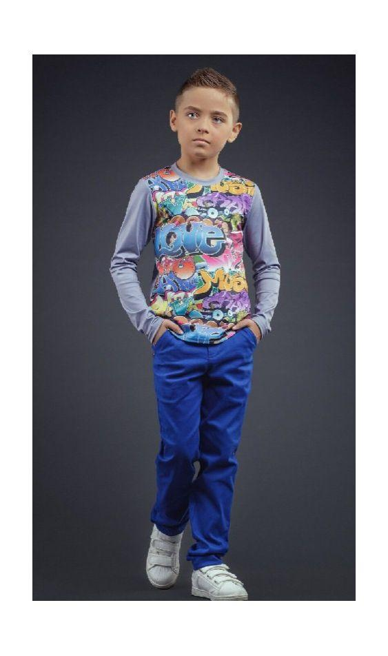 детские коттоновые брюки для мальчика 2200-21 фотография