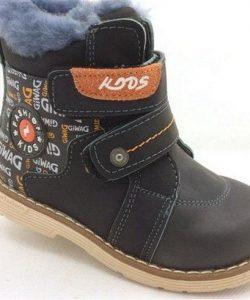 детские зимние ботинки для мальчика на липучках 1140 фотография