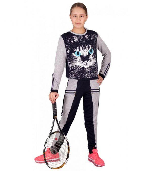 детский спортивный костюм на девочку подростковый кошка 220313 фотография