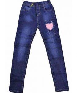 джинсы на флисе для девочки на резинке сердечко 1819 фотография