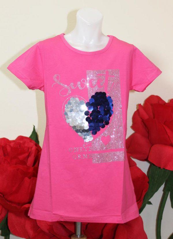футболка для девочки с пайетками sweet 7273 26041 фотография