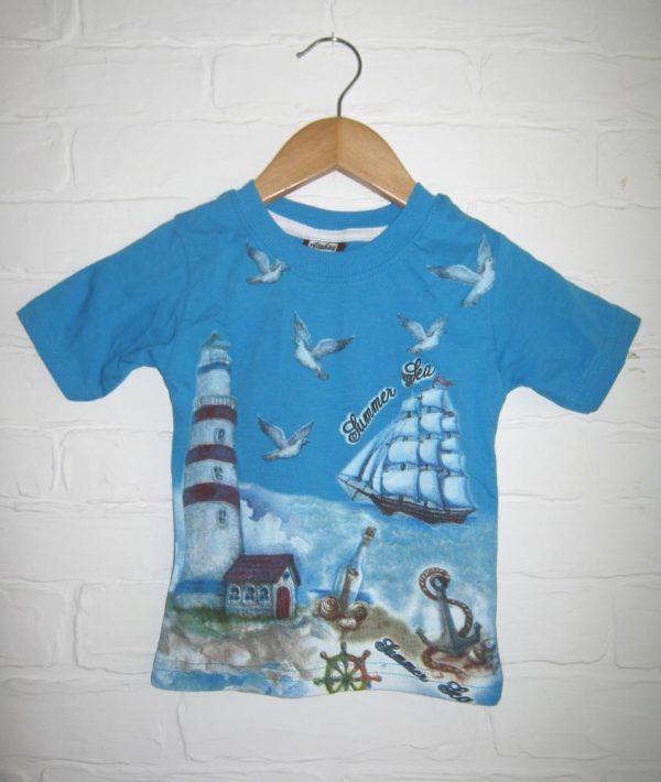 футболка для мальчика кораблик синяя 14064 фотография