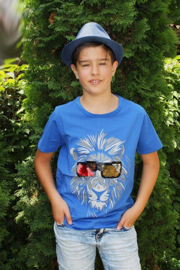 футболка на мальчика подростка лев пайетка 2885 фотография