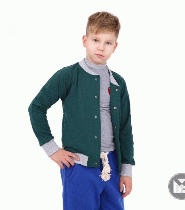 кофта трикотажная на мальчика, бомбер зеленый 10181 фотография