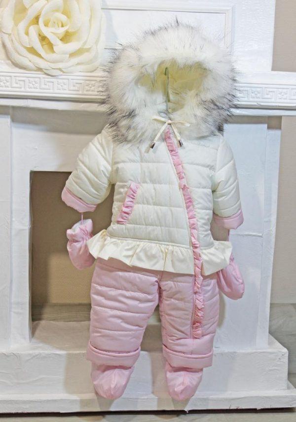 комбинезон человечек зимний на девочку розовый рюшик 41019 фотография
