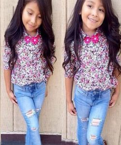 комплект детский на девочку с блузкой и джинсами 290417 фотография