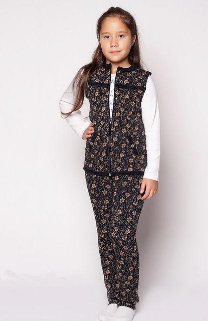 костюм на девочку утепленный с жилеткой и лосинами 130116 фотография