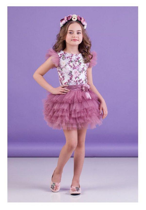 костюм для девочки с пышной юбкой нежный пион 6412 фотография