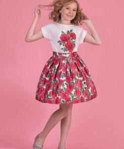 костюм для девочки с юбкой красные розы 80077 80077 фотография