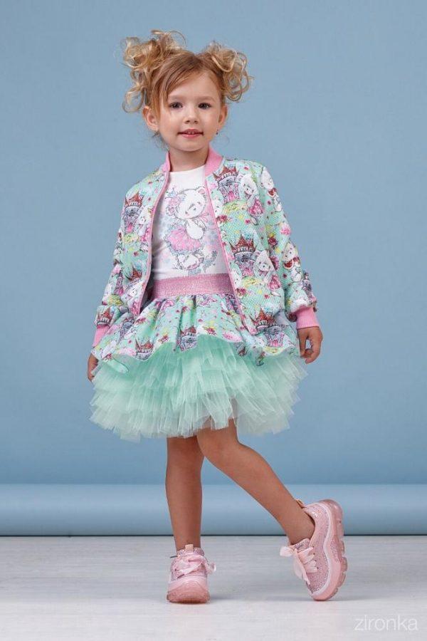 костюм для девочки тройка, бирюза 4-7 лет, cool baby 8013 фотография