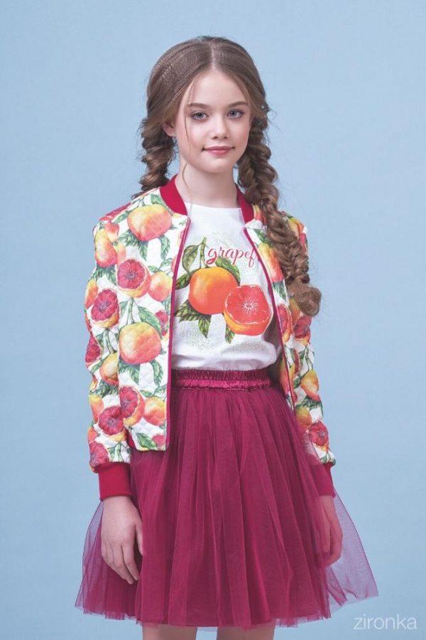 костюм для девочки с пышной юбкой, грейпфрут 8002 фотография