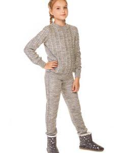 костюм для девочки вязаный косичка 1658 фотография