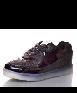 детские кроссовки аирмаксы черные со светящейся подошвой led подсветка 50517 фотография