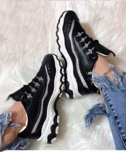 кроссовки для девочки копия бренда черные 1302193 фотография