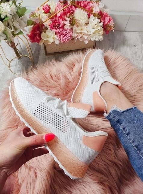 кроссовки женские сетка белые 90519 фотография